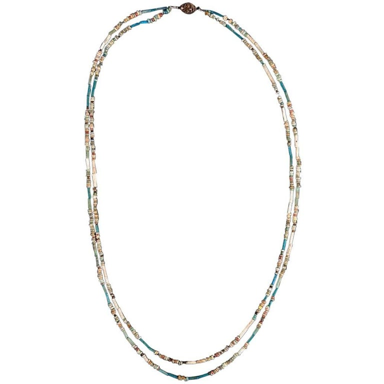 Double Sting Multi-Color Faience Bead Necklace