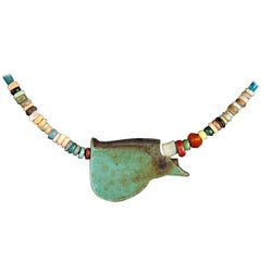 Multicolor Faience Bead Necklace with Olive Green Eye of Ra Amulet