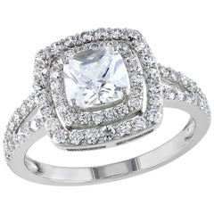 Bespoke, Double Halo, Split Shank Diamond Engagement Ring Design