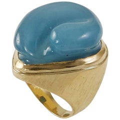 "1960s Modernist Burle Marx, ""Forma Livre"" Aquamarine and Gold Ring"