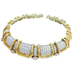 Stunning Pave Diamond Bold Gold Choker Necklace
