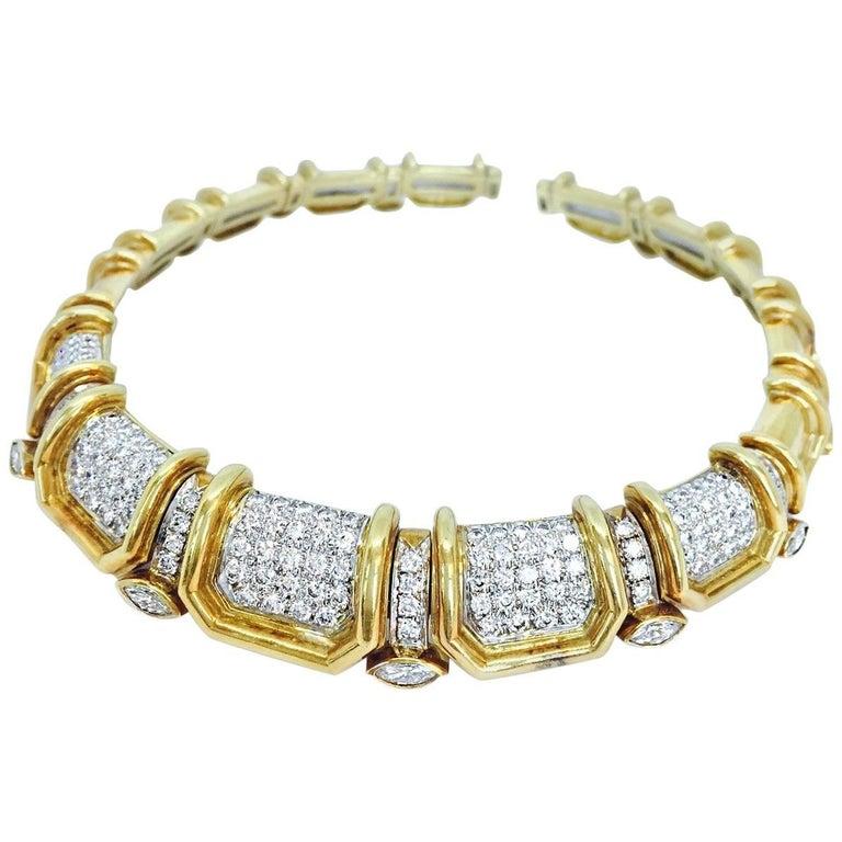 Stunning Pave Diamond Bold Gold Choker Necklace