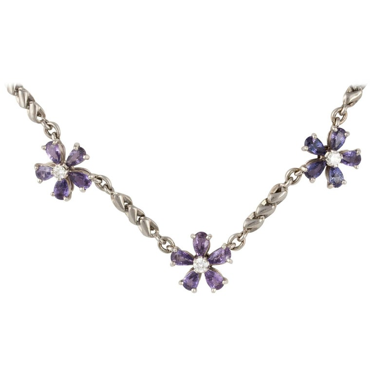 Ella Gafter Lavender Sapphire and Diamond Choker Chain Necklace