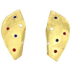 Renato Cipullo Ruby Sapphire Diamond Gold Earrings