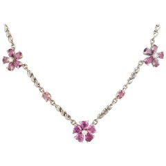 Ella Gafter Pink Sapphire and Diamond Choker Chain Necklace