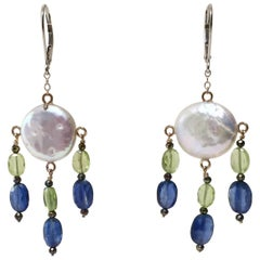 Pearl, Peridot, and Kyanite Earrings with Black Spinel and 14k Gold by Marina J
