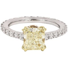 GIA Certified Natural Light Yellow 1.71 Radiant Cut Chardonnay Diamond® Ring