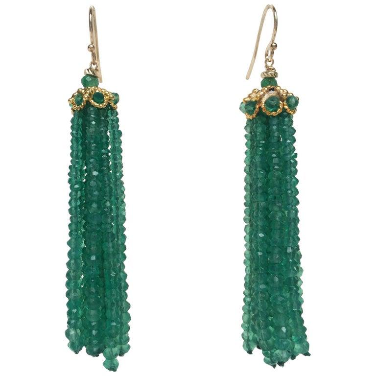 Green Onyx Tassel Earrings with 14 Karat Yellow Gold Hook by Marina J