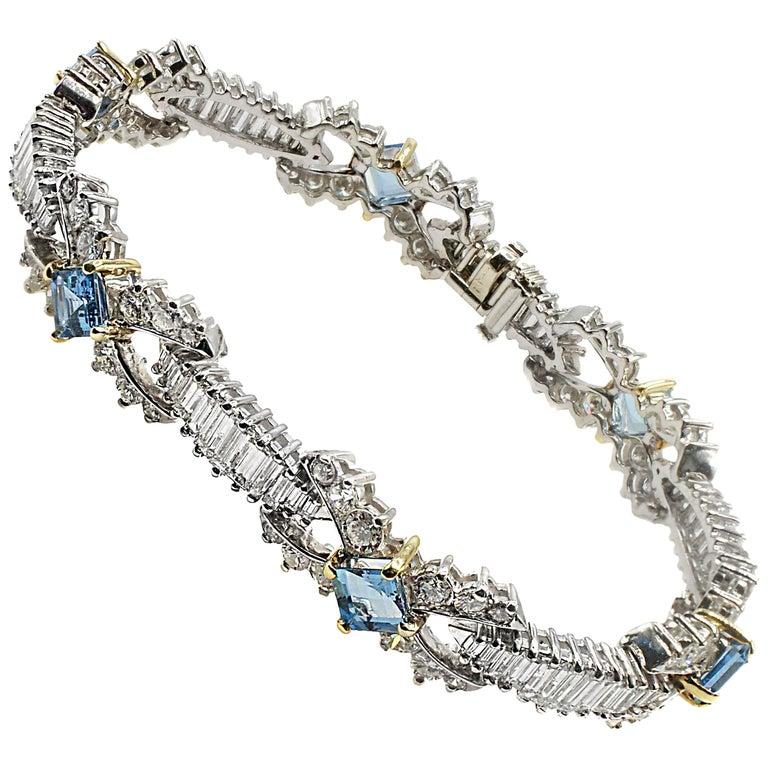 Aquamarine and Diamond Platinum Yellow Gold Bracelet