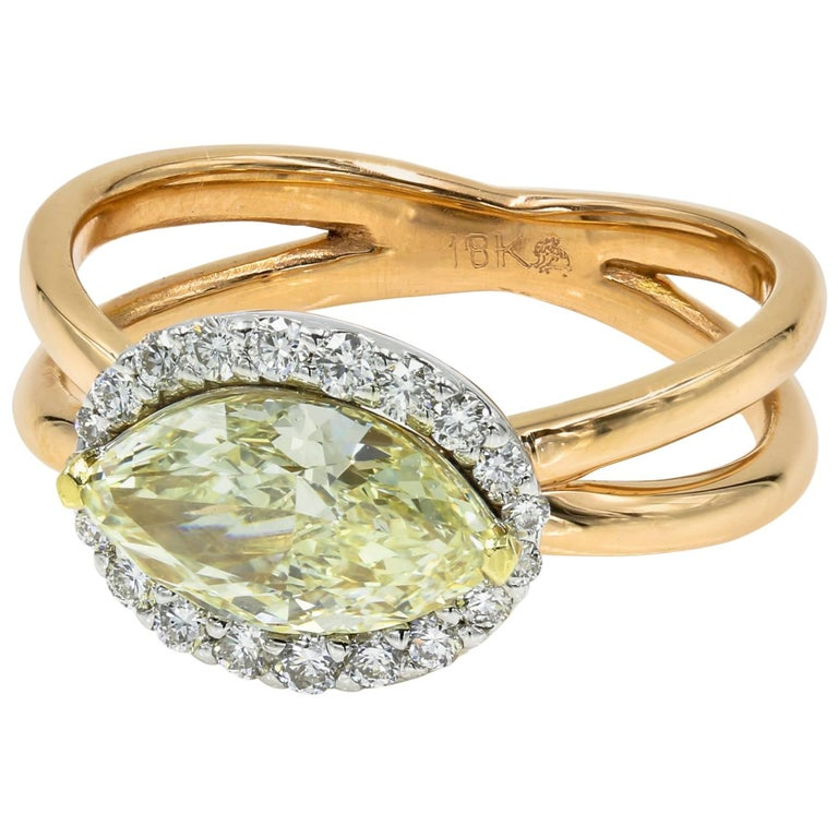 GIA Certified Natural Light Yellow 1.50 Marquise Cut Chardonnay Diamond® Ring