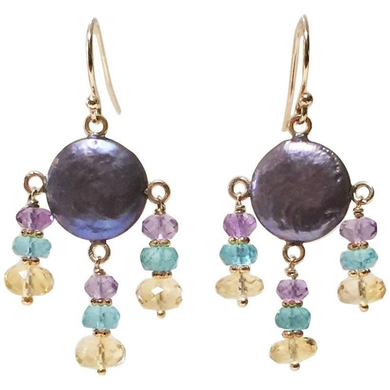 Black Pearl Amethyst, Topaz, and Citrine Earrings with 14 Karat Gold by Marina J