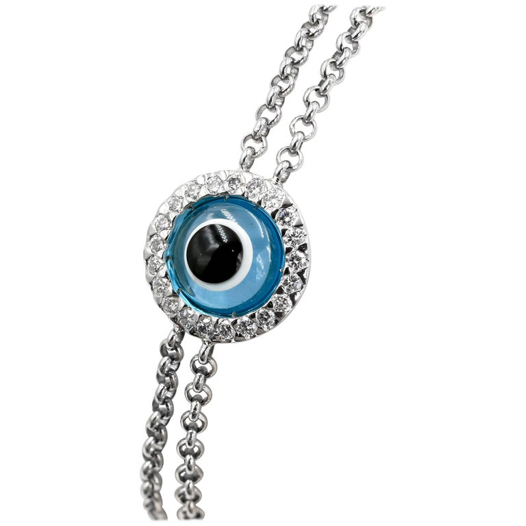 """Lucky Eye"" Bracelet with Diamonds and Blue Topaz Eye"