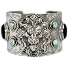 Jill Garber Antique Art Nouveau Lion with Natural Turquoise Wide Cuff Bracelet