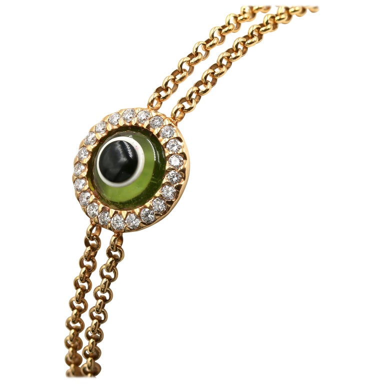 """Lucky Eye"" Bracelet with Diamonds and Peridot Eye"