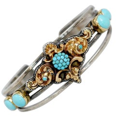 Jill Garber Antique Georgian 14 Karat Gold with Persian Turquoise Cuff Bracelet