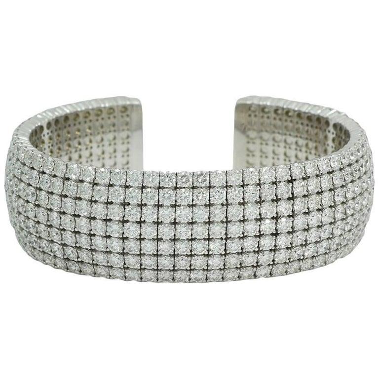 36.24 Carat Diamond Seven-Row Cuff in White Gold