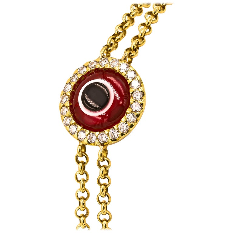 """Lucky Eye"" Bracelet with Diamonds and Ruby 'Synthetic' Eye"