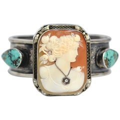 Jill Garber Antique Victorian Cameo with Diamond and Turquoise Cuff Bracelet