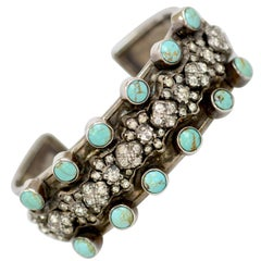 Jill Garber Antique French Paste with Turquoise Sterling Silver Cuff Bracelet