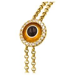"""Lucky Eye"" Bracelet with Diamonds and Fire Opal Eye"
