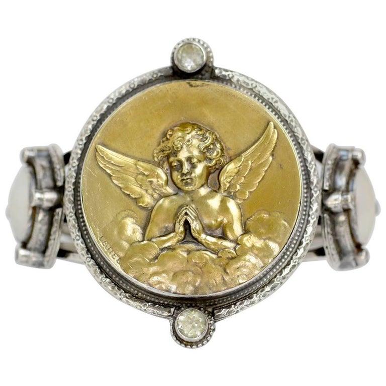 Jill Garber French Art Nouveau Angel Medal Cuff Bracelet with Praisiolite