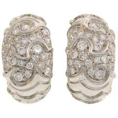 Marina B Diamond White Gold Hoop Huggies Earrings, 1980s