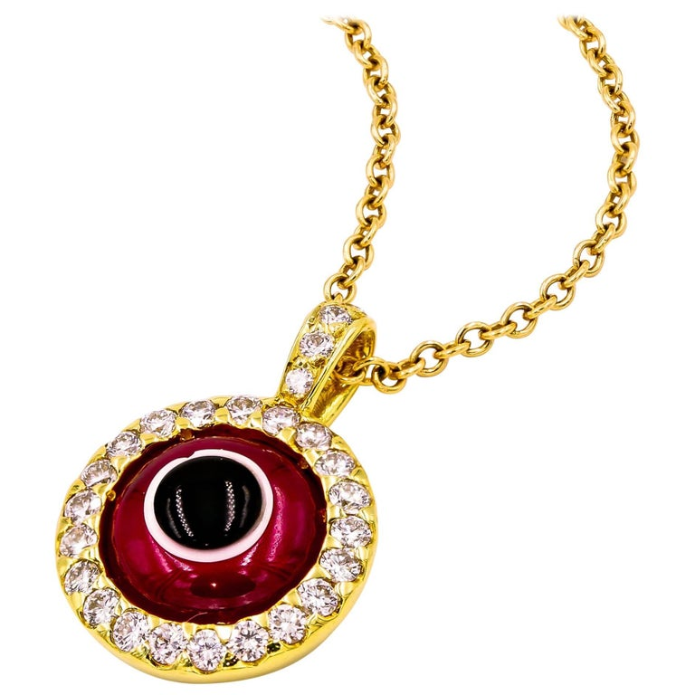 """Lucky Eye"" Pendant with Diamonds and Ruby 'Synthetic' Eye"
