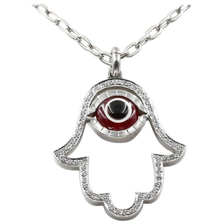"""""""Lucky Eye"""" Hamsa Pendant with Diamonds and Synthetic Ruby Eye"""
