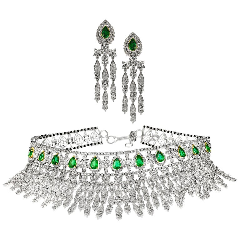 Magnificent Emerald and Diamond Necklace and Earring Suite in 18 Karat Gold