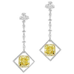 Scarselli 15.24 carat Intense Yellow Diamond Drop Earrings in Platinum GIA
