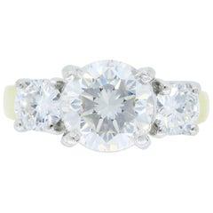 Jeff Cooper GIA Certified Three-Stone Diamond Engagement Ring