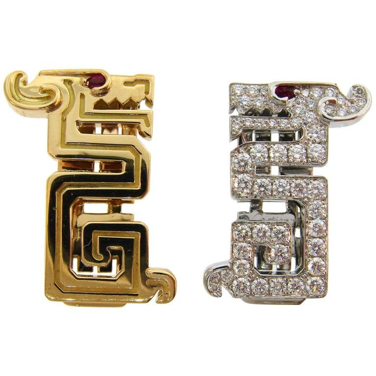 Cartier Le Baiser Du Dragon Diamond Ruby Gold Clip Pair