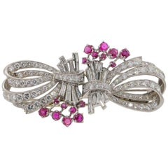 Retro Diamond Ruby Platinum Brooch