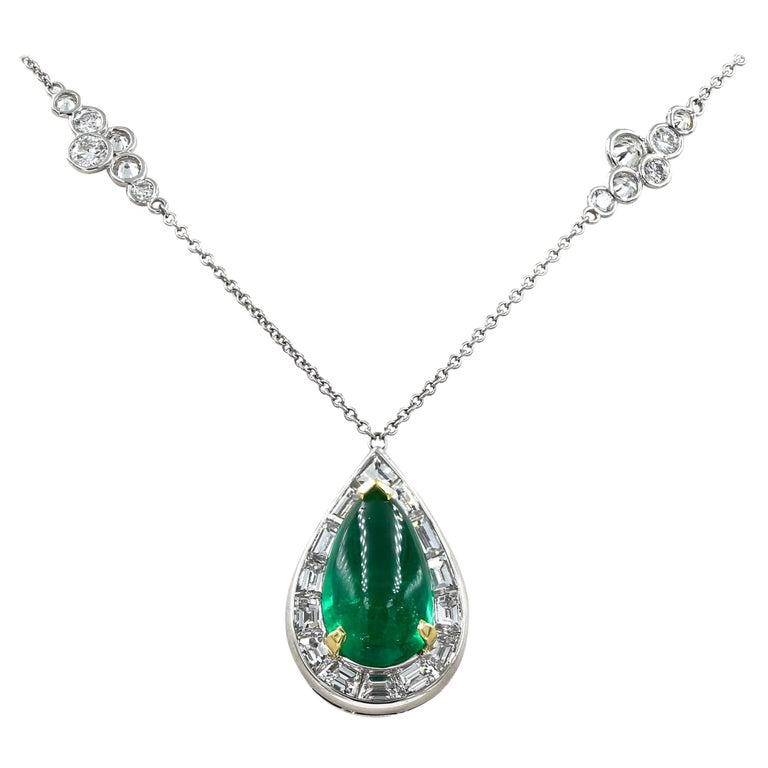 Stunning 3.95 Carat Cabochon Emerald and Diamond Necklace