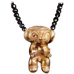 Black Diamond Necklace with Tairona Precolumbian Shaman Gold Pendant