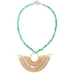 Emerald Chip Necklace with a False Filigree Earring with Caymans