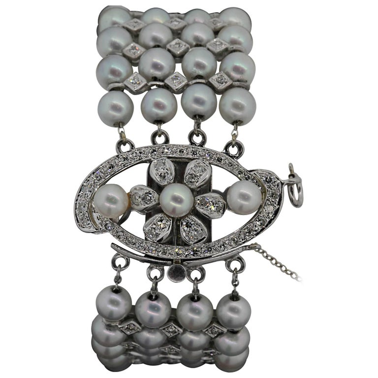 1960s Pearl Diamond Bracelet