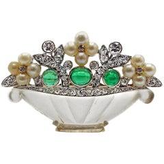 Cartier Art Deco Emerald Diamond Rock Crystal Pearl Platinum Brooch