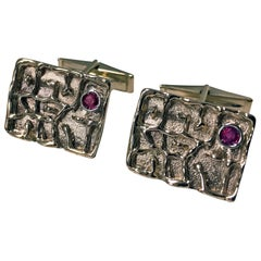 Pair of Gold and Ruby Cufflinks, Birks, circa 1970