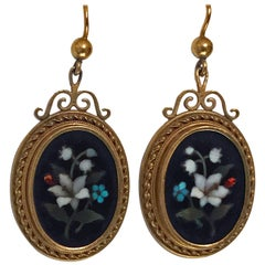 Pair of Antique Gold Pietra Dura Earrings, circa 1875