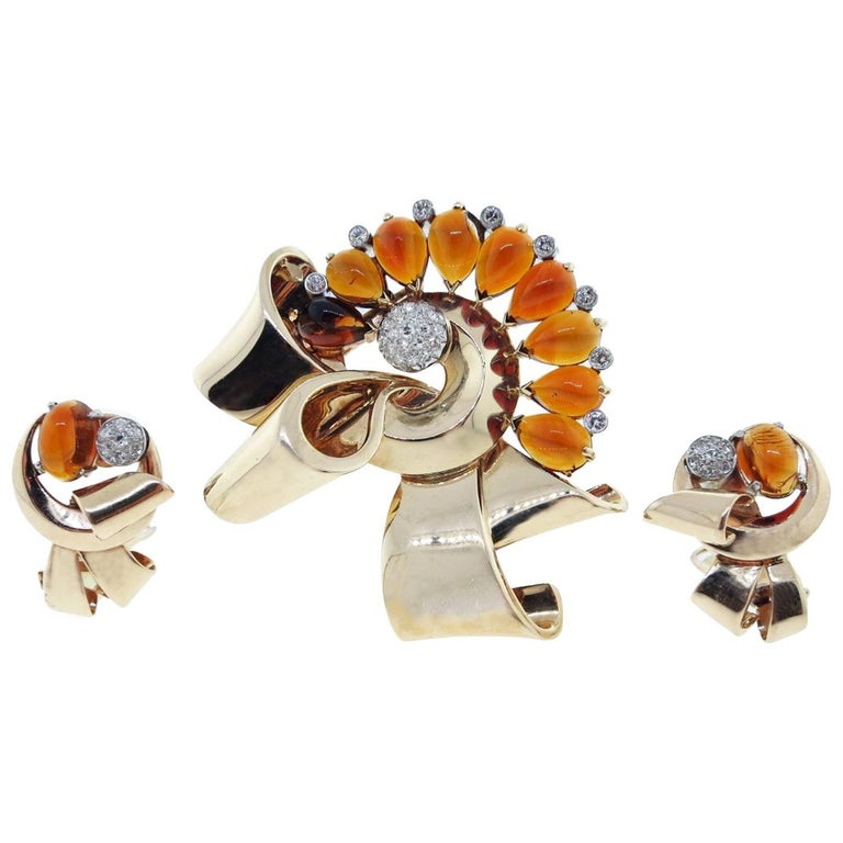Powerful Retro Citrine and Diamond Brooch and Earring Set