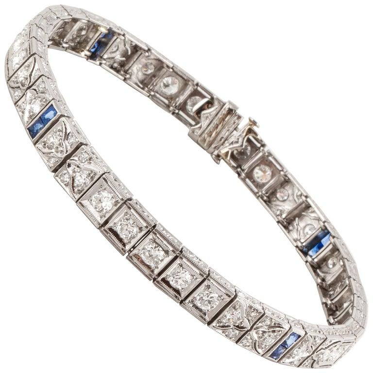 Platinum Diamond Sapphire Line Bracelet