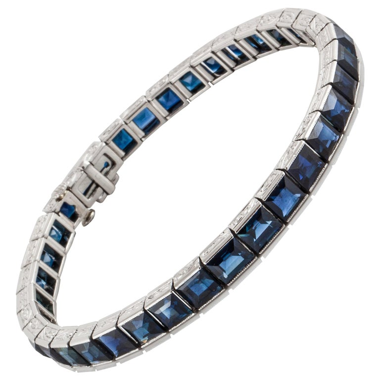 Black Star and Frost Platinum Sapphire Bracelet For Sale