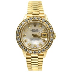 Rolex Ladies Yellow Gold Diamond President Automatic Wristwatch Ref 69178