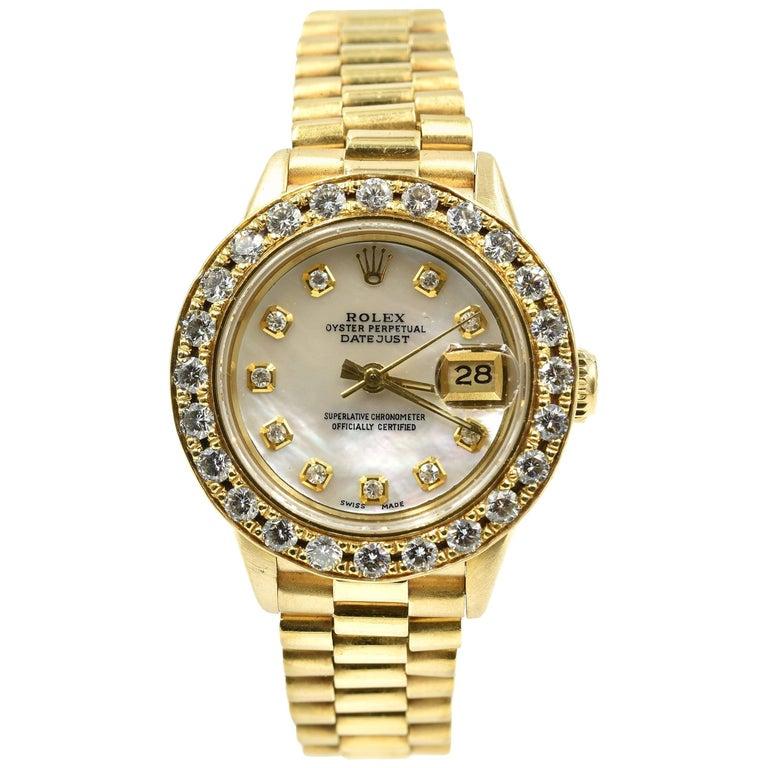 Rolex Ladies Yellow Gold Diamond President Automatic Wristwatch Ref 69178