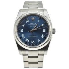 Rolex Stainless Steel Oyster Perpetual Airking Blue Dial automatic Wristwatch