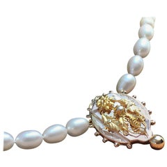 Pearl Pendant Necklace Antique Pink Yellow Gold Ornament, 1880