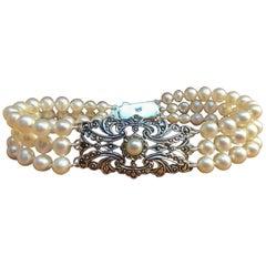 Art Deco Pearl Bracelet Antique Silver Ornament