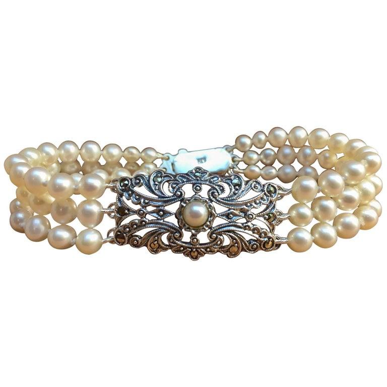 Art Deco Pearl Bracelet Antique Silver Ornament For Sale