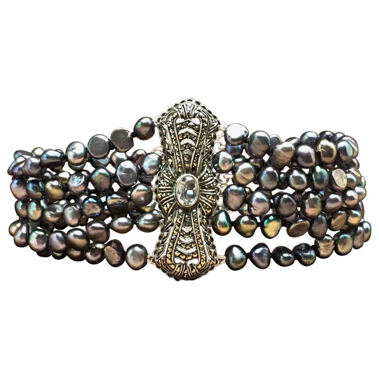 7bb3c60eef Pearl Bracelet Silver Antique Art Deco Ornament Aquamarine